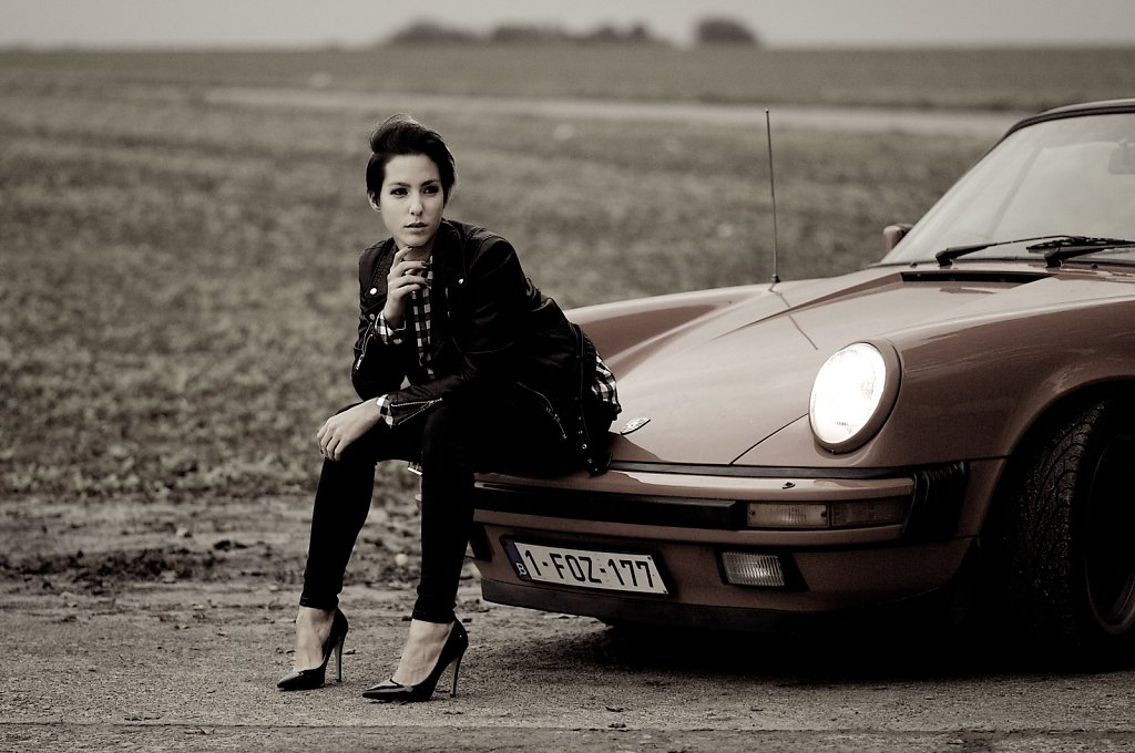 The Girl and Old Car